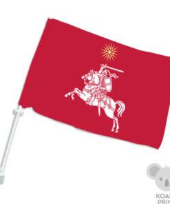 Raudona Vyčio su saule automobilinė vėliavėlė su koteliu